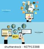 vector set illustration of time ... | Shutterstock .eps vector #407913388