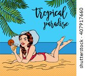 Tropical Paradise. Woman With ...
