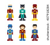 pixel people superhero avatar... | Shutterstock .eps vector #407918284