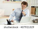portrait of bookkeeper or... | Shutterstock . vector #407921329