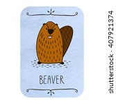 card with cartoon beaver on... | Shutterstock .eps vector #407921374