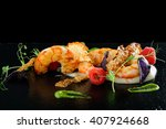 fine dining appetizer with... | Shutterstock . vector #407924668