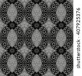black damask vintage floral...   Shutterstock .eps vector #407925376