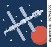 space station orbiting mars.... | Shutterstock .eps vector #407935000