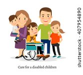 family with special needs... | Shutterstock .eps vector #407954890
