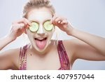 funny young attractive woman... | Shutterstock . vector #407957044