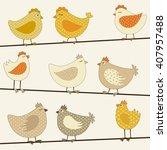 set of cute stylized chicken | Shutterstock .eps vector #407957488