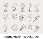pyrotechnic line icons.... | Shutterstock .eps vector #407958220