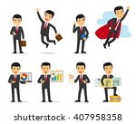 cartoon businessman poses.... | Shutterstock .eps vector #407958358