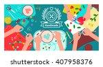 creative handmade workshop... | Shutterstock .eps vector #407958376