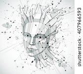 3d vector low poly portrait of... | Shutterstock .eps vector #407966593