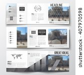 Vector set of tri-fold brochures, square design brochure templates with element of world map and globe. Abstract background, blurred image, urban landscape, modern stylish vector brochure. | Shutterstock vector #407970598