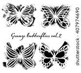 hand drawn grunge butterflies ...   Shutterstock .eps vector #407974690