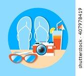 flip flops camera cocktail... | Shutterstock .eps vector #407978419