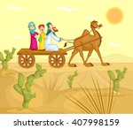 muslim family riding on camel... | Shutterstock .eps vector #407998159