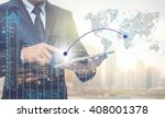 double exposure of businessman... | Shutterstock . vector #408001378