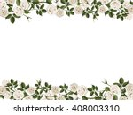 Stock vector horizontal frame with white roses vector floral decorative gift or wedding card 408003310