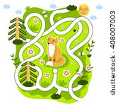 kids games maze game. cartoon... | Shutterstock . vector #408007003
