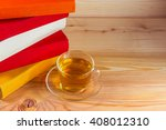 the glass cup and colorful... | Shutterstock . vector #408012310
