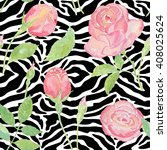 exotic pattern with roses on... | Shutterstock . vector #408025624