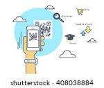 man is scanning qr code via... | Shutterstock .eps vector #408038884