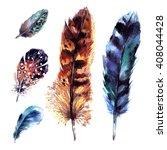 watercolor feathers set. hand... | Shutterstock . vector #408044428