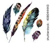 watercolor feathers set. hand...   Shutterstock . vector #408044443