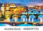 Prague Illuminated Bridges At...