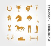 horse equipment icon set thin...