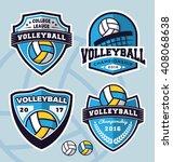 set of volleyball logo template ... | Shutterstock .eps vector #408068638