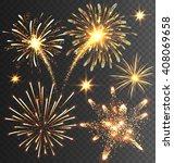 Festive Golden Firework Salute...