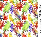 tropical parrot seamless... | Shutterstock . vector #408071158