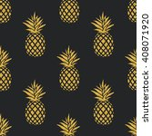seamless summer gold pineapple... | Shutterstock .eps vector #408071920