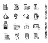 bill payment icons set | Shutterstock .eps vector #408080989