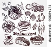 mexican hand drawn food set... | Shutterstock .eps vector #408096178