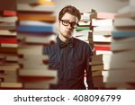 student between book stacks | Shutterstock . vector #408096799