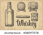 whiskey glass with ice cubes ...   Shutterstock .eps vector #408097078