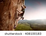 climber on a cliff | Shutterstock . vector #408100183