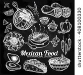 mexican hand drawn food set... | Shutterstock .eps vector #408100330