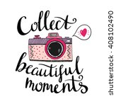 retro photo camera with stylish ... | Shutterstock .eps vector #408102490