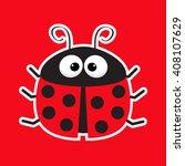 cute cartoon lady bug sticker...   Shutterstock . vector #408107629