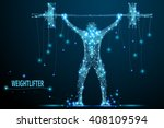 abstract weightlifter with... | Shutterstock .eps vector #408109594