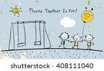 children  group of kids ...   Shutterstock .eps vector #408111040