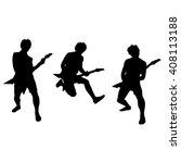 set of guitar player...   Shutterstock .eps vector #408113188