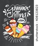 summer chilling offer template  ... | Shutterstock .eps vector #408123823