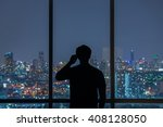 silhouette of man use mobile... | Shutterstock . vector #408128050