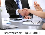 business people shaking hands ... | Shutterstock . vector #408128818