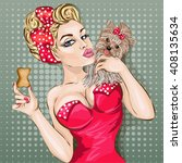 pop art sexy woman portrait.... | Shutterstock .eps vector #408135634
