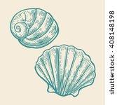 sea shell. engraving vintage...   Shutterstock .eps vector #408148198