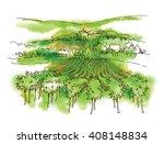 vineyard. hand drawn sketch of... | Shutterstock .eps vector #408148834
